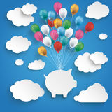 Paper Clouds Striped Blue Sky Balloons Piggy Bank. Paper clouds and hanging piggy bank with colored balloons on the blue background Royalty Free Stock Image