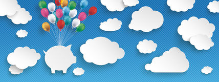 Paper Clouds Striped Blue Sky Balloons Piggy Bank Header. Paper clouds and hanging piggy bank  with colored balloons on the blue background Stock Photography