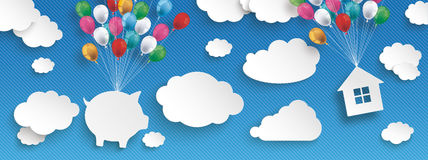 Paper Clouds Striped Blue Sky Balloons Piggy Bank House Header. Paper clouds and hanging piggy bank and house  with colored balloons on the blue background Royalty Free Stock Photography