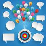 Paper Clouds Striped Blue Sky Balloons Speech Bubbles. Paper speech bubbles and target with colored balloons on the blue background royalty free illustration
