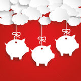 Paper Clouds Striped Red Piggy Banks Royalty Free Stock Image