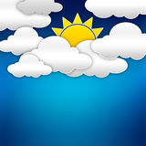 Paper clouds with sun over blue Royalty Free Stock Photo