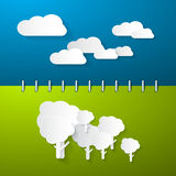 Paper Clouds and Trees Illustration Royalty Free Stock Image