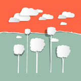 Paper Clouds and Trees. Nature Illustration Stock Photography