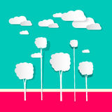 Paper Clouds and Trees royalty free illustration