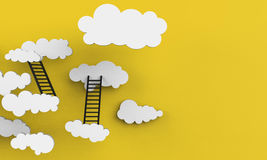 Paper clouds white and Yellow background Clean Art Inspiration Stock Photos