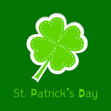 Paper clover leaf. Dash line. Happy St. Patricks d Stock Photo