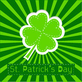 Paper clover leaf. Sunburst background. Happy St P Royalty Free Stock Photography
