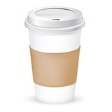 Paper coffee cup. As illustration of coffee take out vector Stock Photography