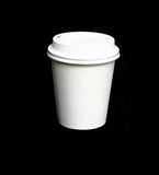 Paper coffee cup. With plastic top isolated on Black  background Stock Images
