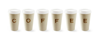 Paper coffee cup. With clipping path for easy background removing if needed Stock Photos