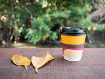 Paper coffee cup. Closeup paper coffee cup on wooden Royalty Free Stock Images