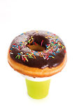 Paper coffee cup and donut Royalty Free Stock Photo