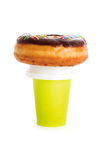 Paper coffee cup and donut Royalty Free Stock Photos