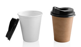 Paper coffee cup isolated on white Stock Image