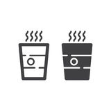 Paper Coffee Cup line and solid icon Royalty Free Stock Photography