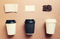 Paper coffee cup mock up for identity branding from top view wit Stock Image