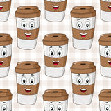 Paper Coffee Cup Seamless Pattern Stock Photos