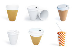 Paper coffee cup set Isolated on White Background. Stock Photography