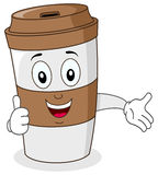 Paper Coffee Cup with Thumbs Up. A cute cartoon paper coffee cup character with thumbs up smiling, isolated on white background. Eps file available Stock Image