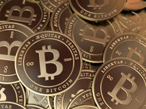 Bitcoin Pile Closeup Stock Photography