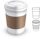 Paper coffee cup. A white paper coffee to-go-cup with a sleeve. Illustration contain transparencies and is saved as Illustrator 10 format Vector Illustration