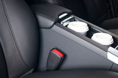 Paper Coffee Cups Inside Car Cup Holder. Stock Photos