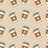 Paper coffee cups. Seamless pattern. Vector illustration Stock Images