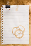 Paper with coffee stains and clip Royalty Free Stock Photography