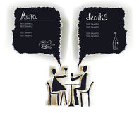 Paper collection background with happy couple in restauront Stock Photos