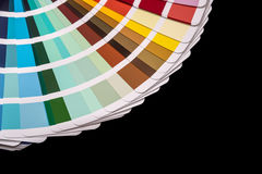 Paper color palette displaying a range of hues for design stock photos
