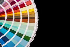 Paper color palette displaying a range of hues for design stock image