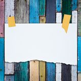 Paper on color planks Stock Photo