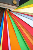 Paper color spectrum. Paper color chart spectrum. Different weights and colors of printing paper Stock Photo