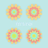 Paper colored flowers set. Vector illustration Royalty Free Stock Images