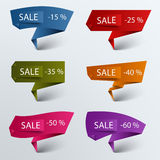 Paper colored folded pointer sale discount template Stock Photography