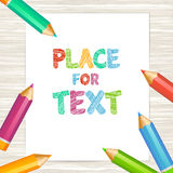 Paper and colored highly detailed pencils. Vector illustration Royalty Free Stock Image