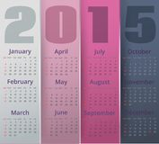 Paper colored 2015 year calendar. Vector editable illustration Stock Photos