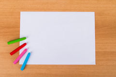Paper and Colorful Chalk Pastels Stock Photography