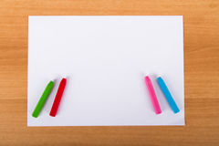 Paper and Colorful Chalk Pastels Royalty Free Stock Photo