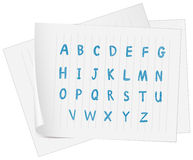 A paper with the complete letters of the alphabet Stock Image