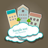 Paper composition. Vector paper composition with clouds and buildings Stock Photo