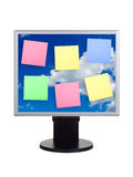Paper on computer screen stock images