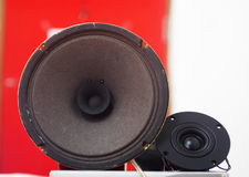 Paper cone loudspeaker driver with double cone. Full range paper cone loudspeaker driver with double cone, paper edge, and small voice coil typically character Stock Photo