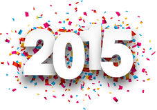 2015 paper confetti sign. Happy 2015 new year with confetti. Vector paper illustration Royalty Free Stock Photography