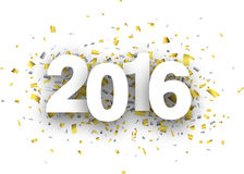 2016 paper confetti sign. Happy 2016 new year with confetti. Vector paper illustration Royalty Free Stock Images