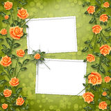 Paper for congratulation with painting rose Royalty Free Stock Photos