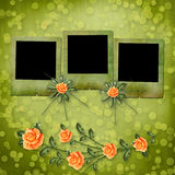 Paper for congratulation with painting rose Stock Image