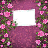 Paper for congratulation with painting rose Royalty Free Stock Photo