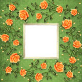 Paper for congratulation with painting rose Stock Photo